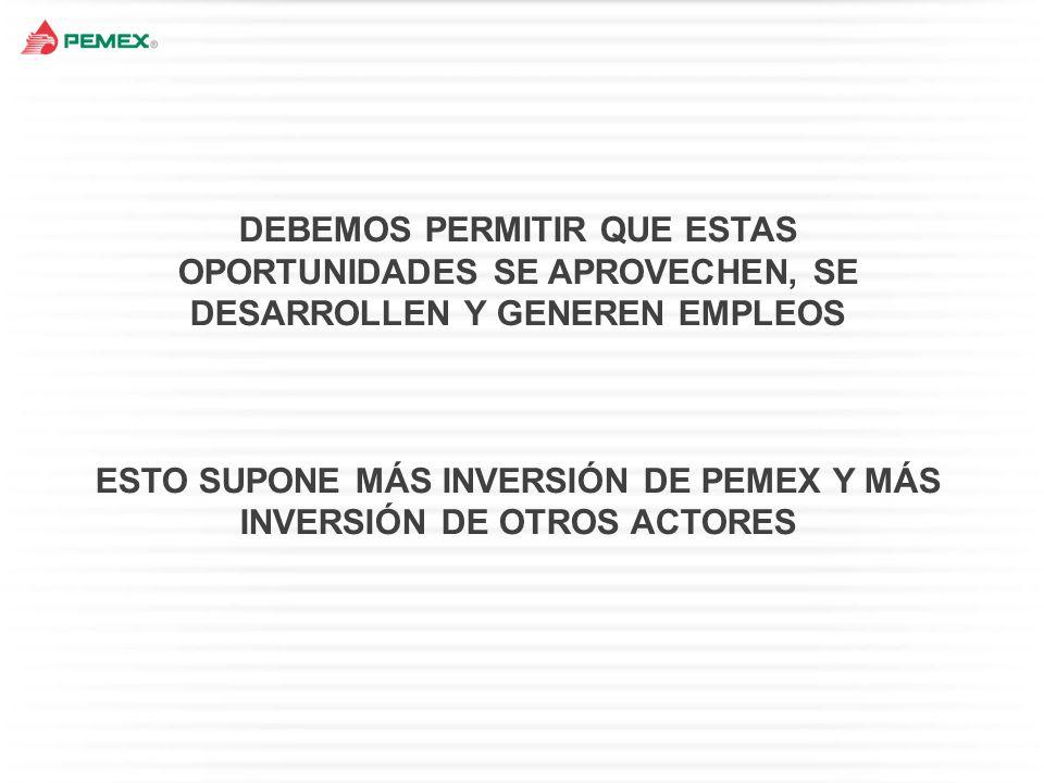 ESTO SUPONE MÁS INVERSIÓN DE PEMEX Y MÁS INVERSIÓN DE OTROS ACTORES