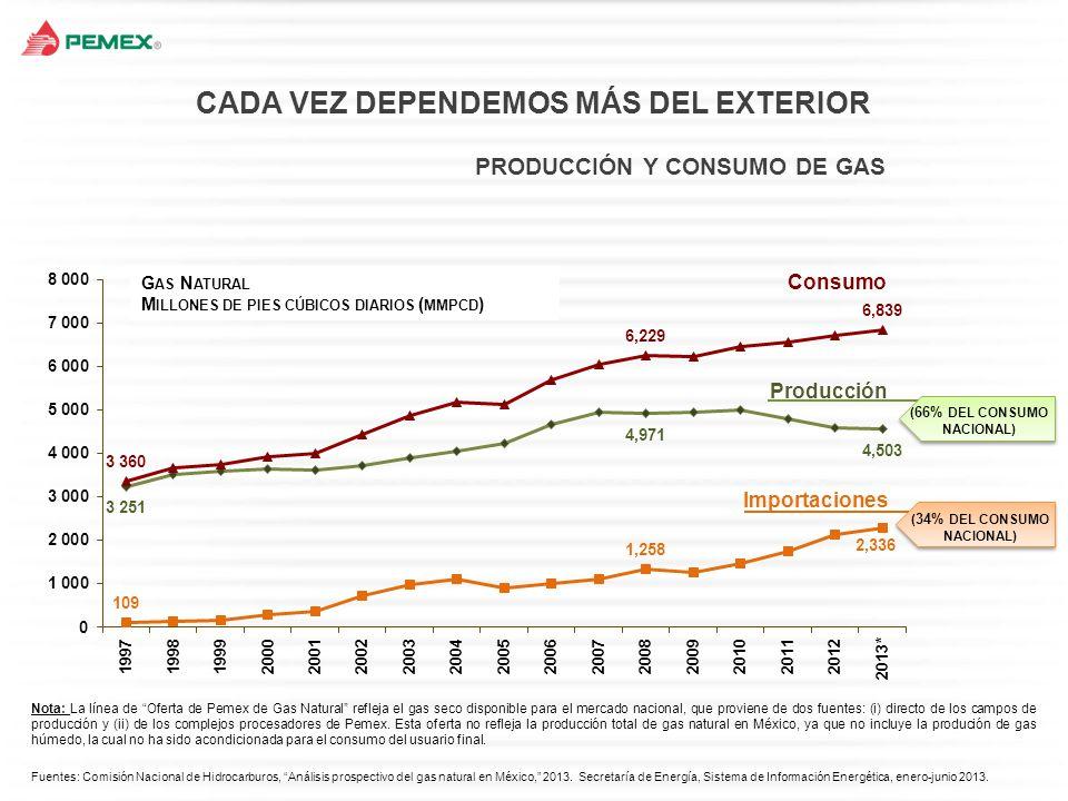 PRODUCCIÓN Y CONSUMO DE GAS