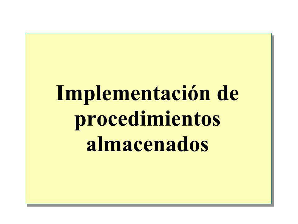 Implementación de procedimientos almacenados