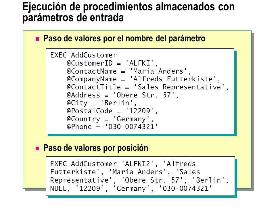 Ejecución de procedimientos almacenados con parámetros de entrada