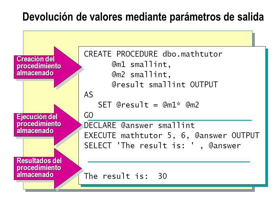Devolución de valores mediante parámetros de salida
