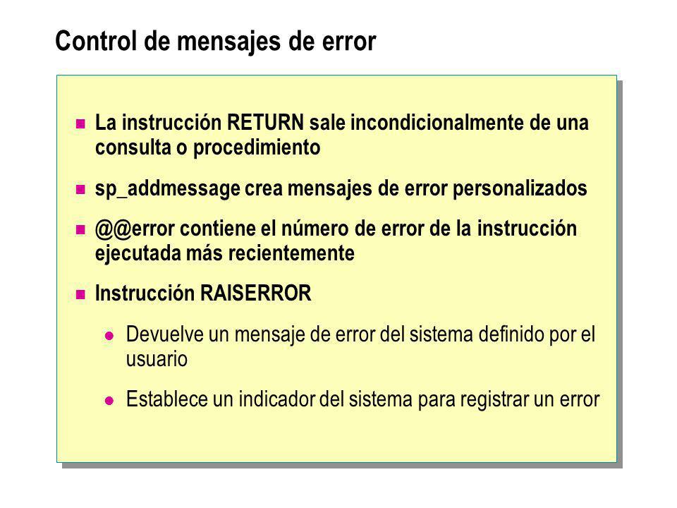 Control de mensajes de error