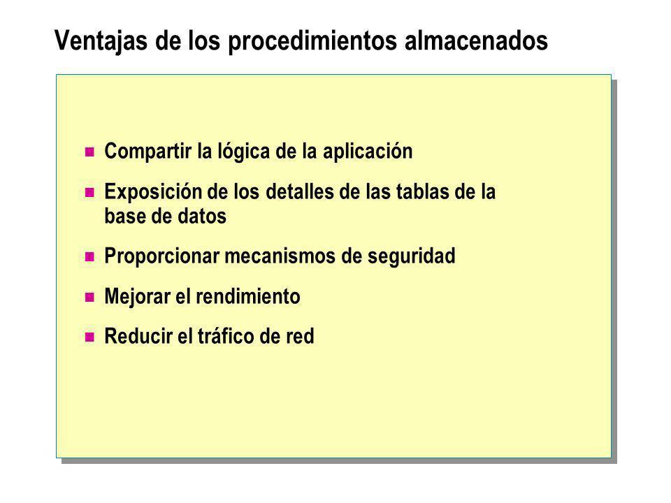 Ventajas de los procedimientos almacenados