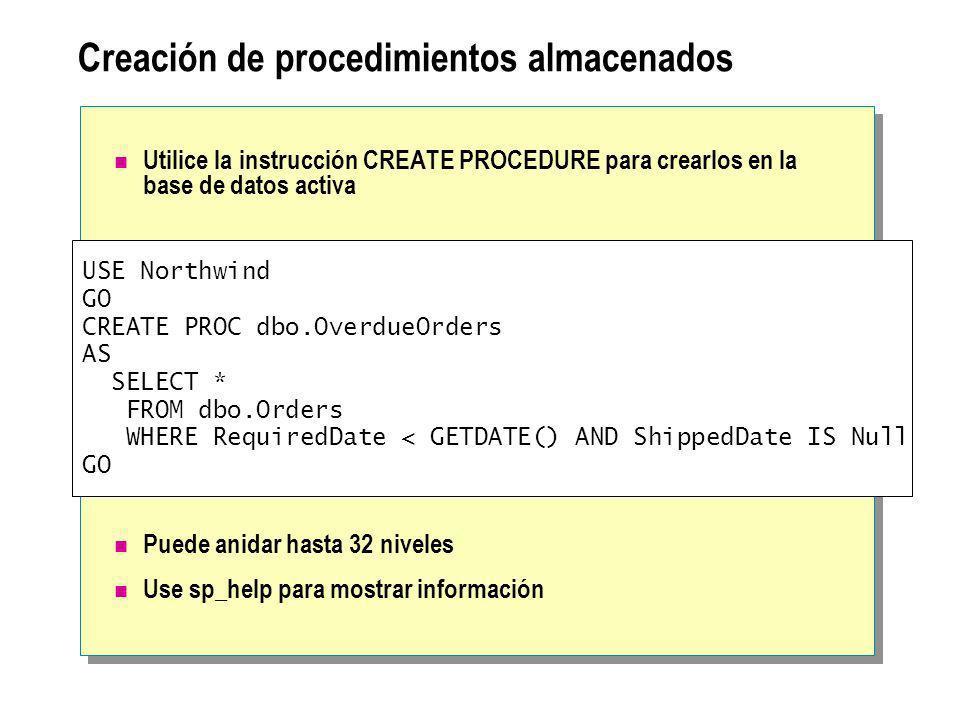 Creación de procedimientos almacenados