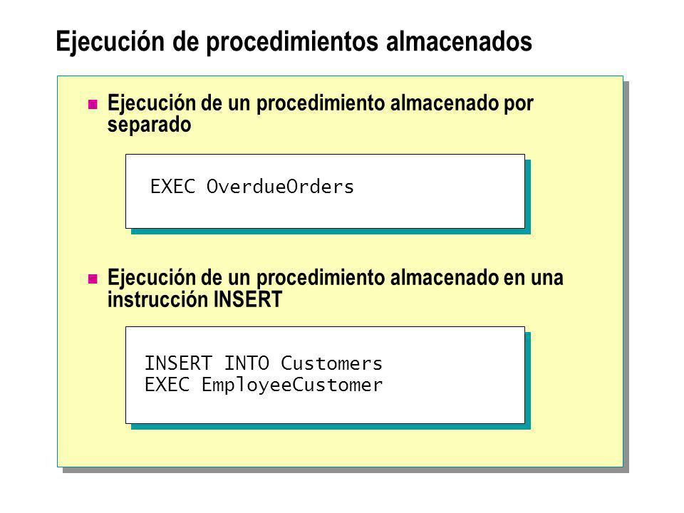 Ejecución de procedimientos almacenados
