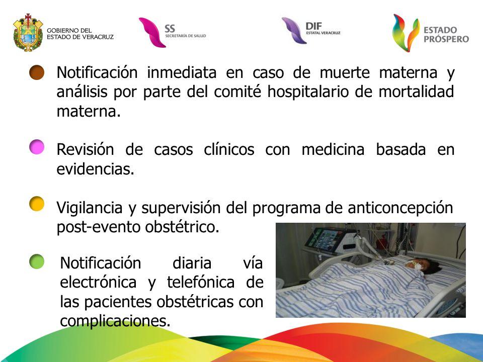 Notificación inmediata en caso de muerte materna y análisis por parte del comité hospitalario de mortalidad materna.