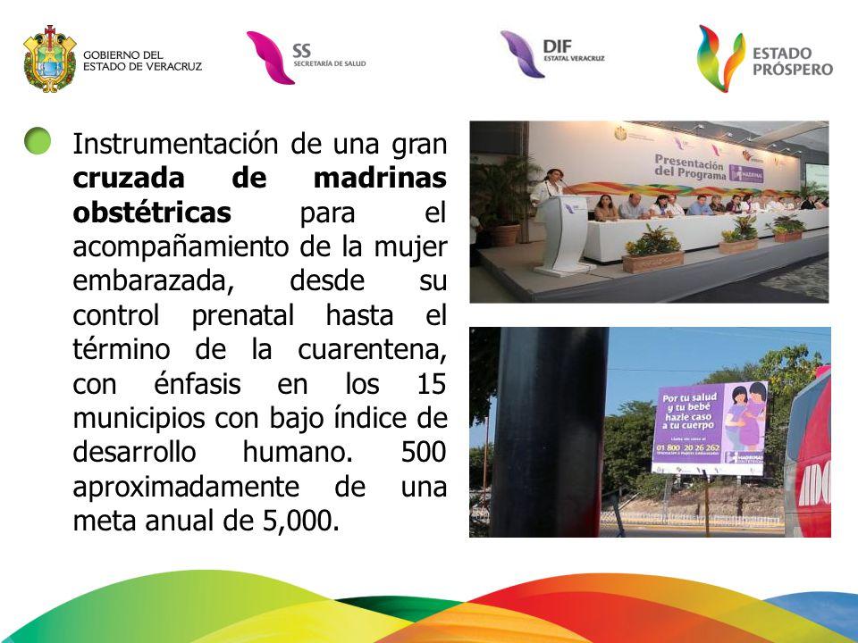 Instrumentación de una gran cruzada de madrinas obstétricas para el acompañamiento de la mujer embarazada, desde su control prenatal hasta el término de la cuarentena, con énfasis en los 15 municipios con bajo índice de desarrollo humano.