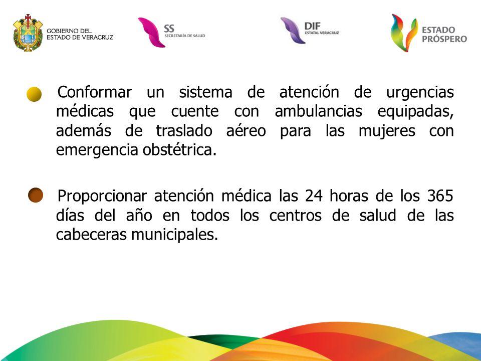 Conformar un sistema de atención de urgencias médicas que cuente con ambulancias equipadas, además de traslado aéreo para las mujeres con emergencia obstétrica.