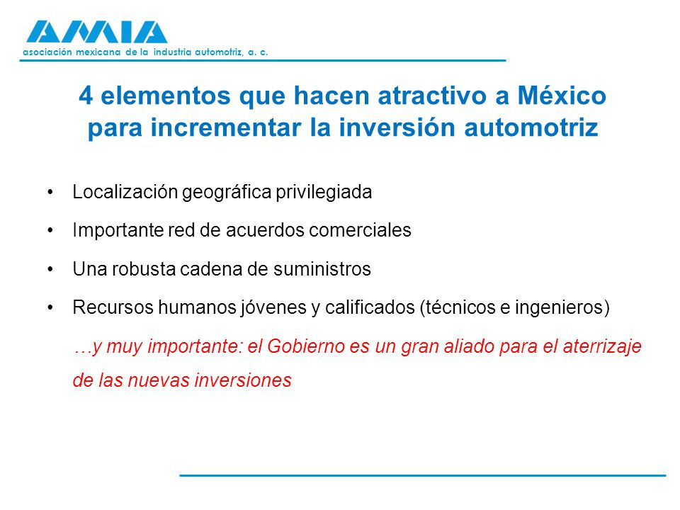 4 elementos que hacen atractivo a México para incrementar la inversión automotriz