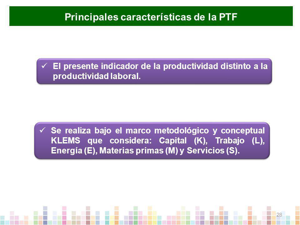Principales características de la PTF