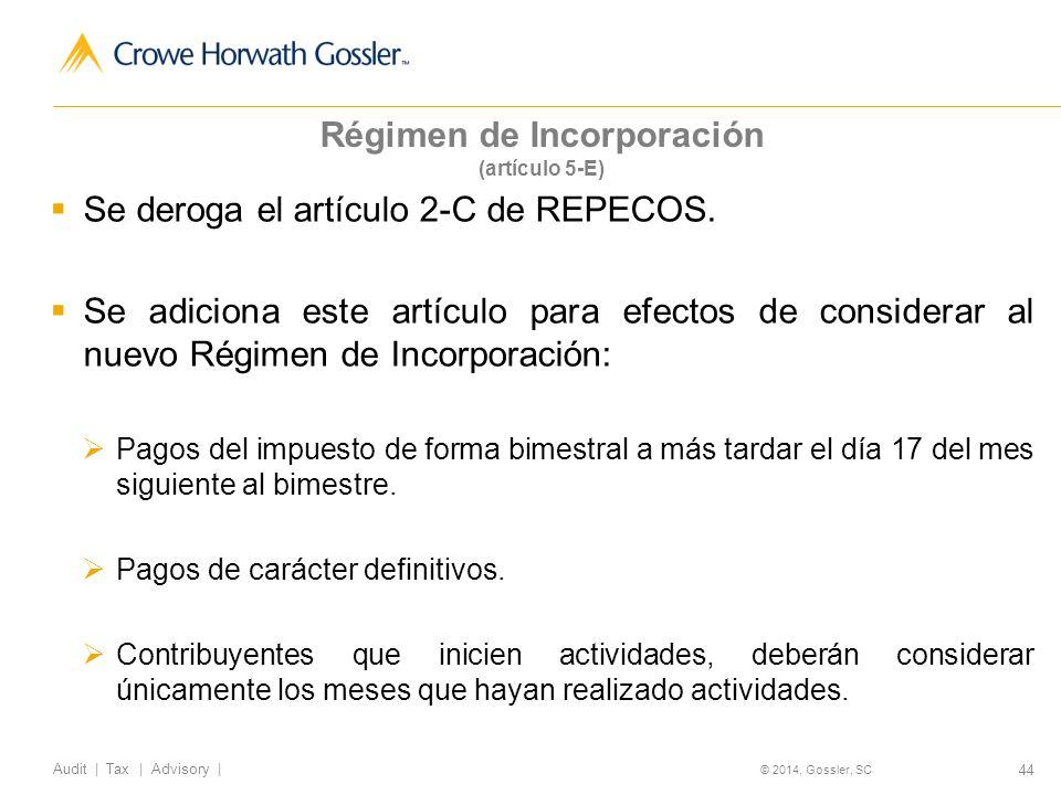 Régimen de Incorporación (artículo 5-E)