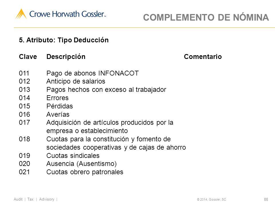 COMPLEMENTO DE NÓMINA 5. Atributo: Tipo Deducción