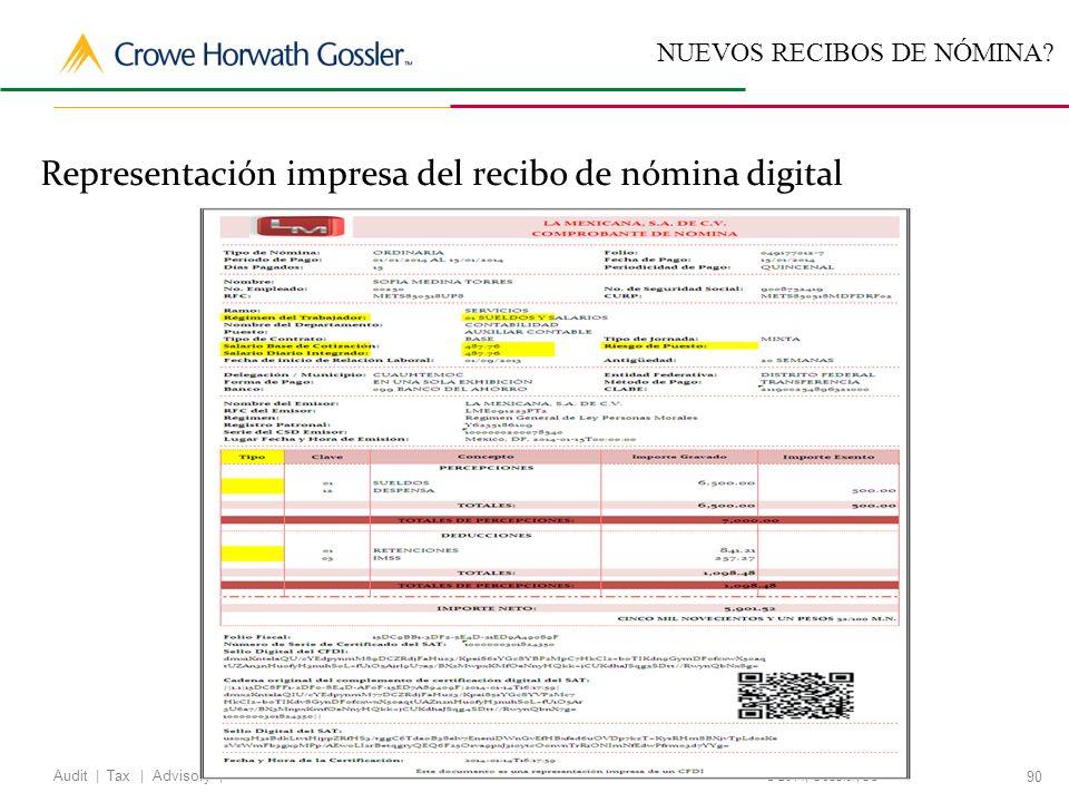 Representación impresa del recibo de nómina digital