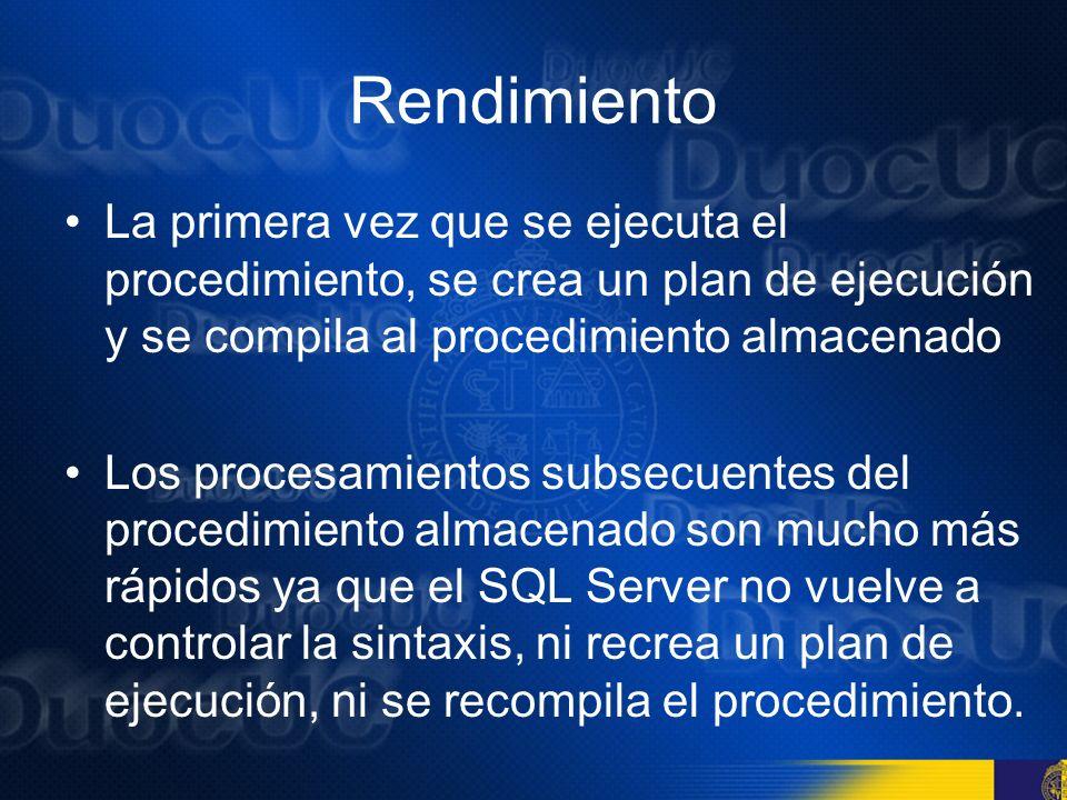 Rendimiento La primera vez que se ejecuta el procedimiento, se crea un plan de ejecución y se compila al procedimiento almacenado.