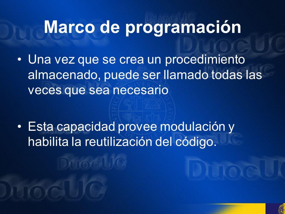 Marco de programación Una vez que se crea un procedimiento almacenado, puede ser llamado todas las veces que sea necesario.