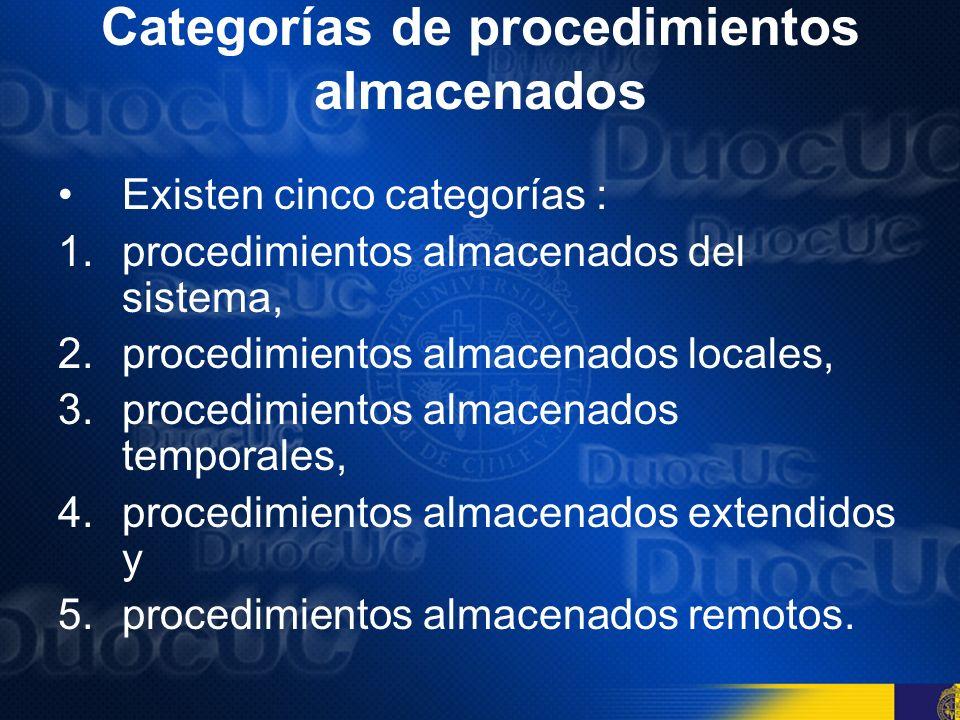 Categorías de procedimientos almacenados