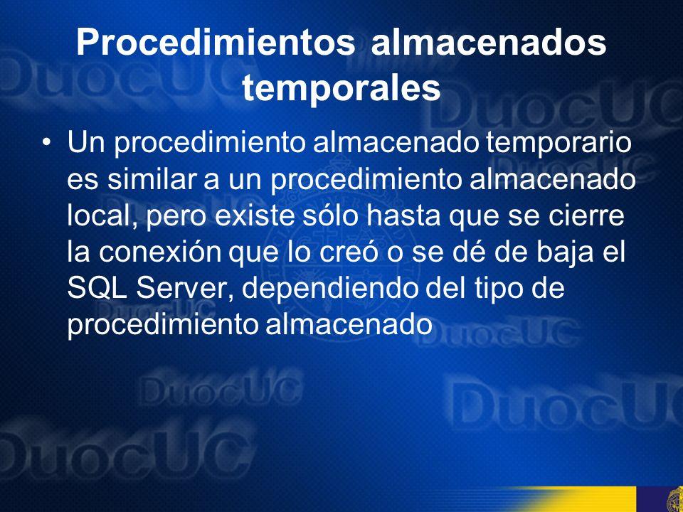Procedimientos almacenados temporales