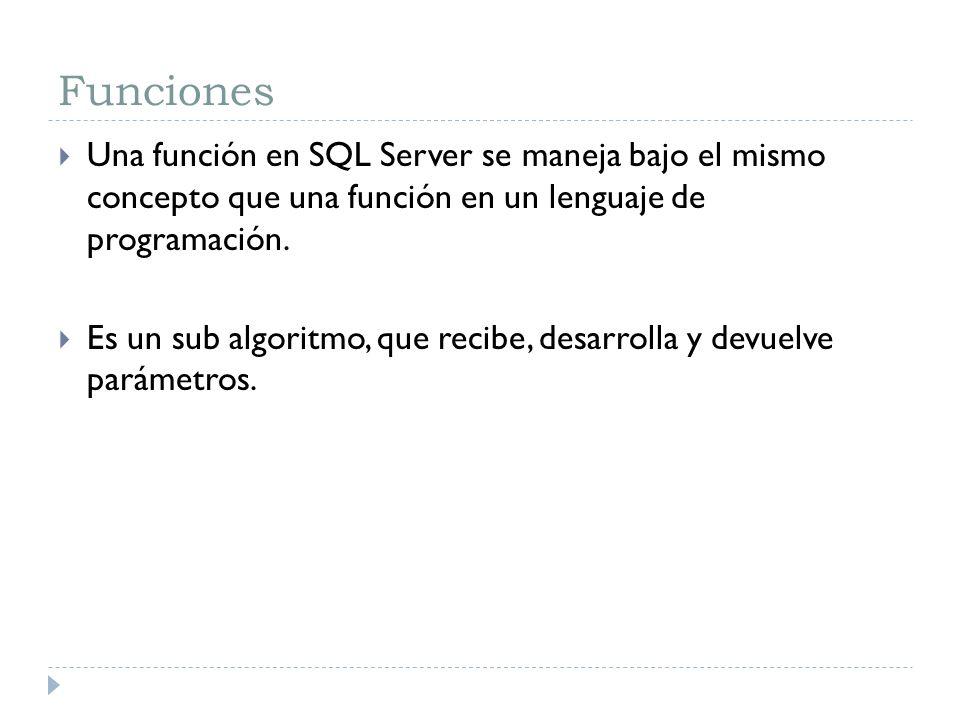 Funciones Una función en SQL Server se maneja bajo el mismo concepto que una función en un lenguaje de programación.