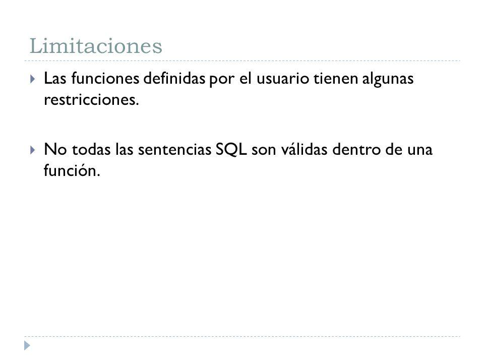 Limitaciones Las funciones definidas por el usuario tienen algunas restricciones.
