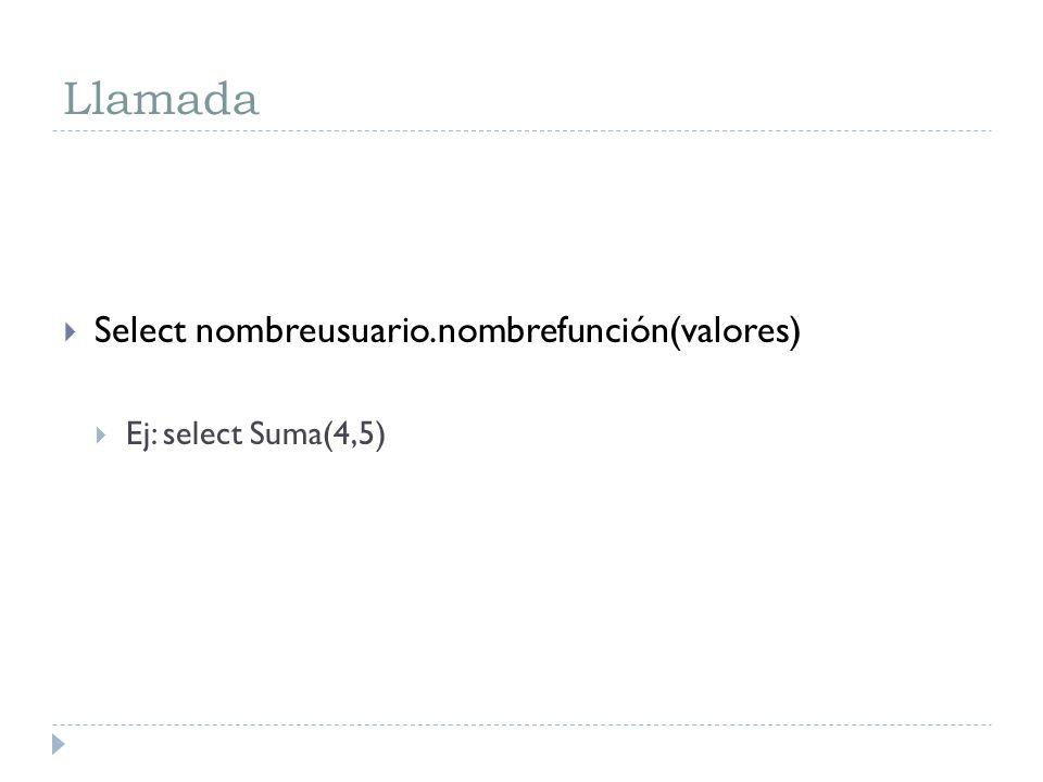 Llamada Select nombreusuario.nombrefunción(valores)
