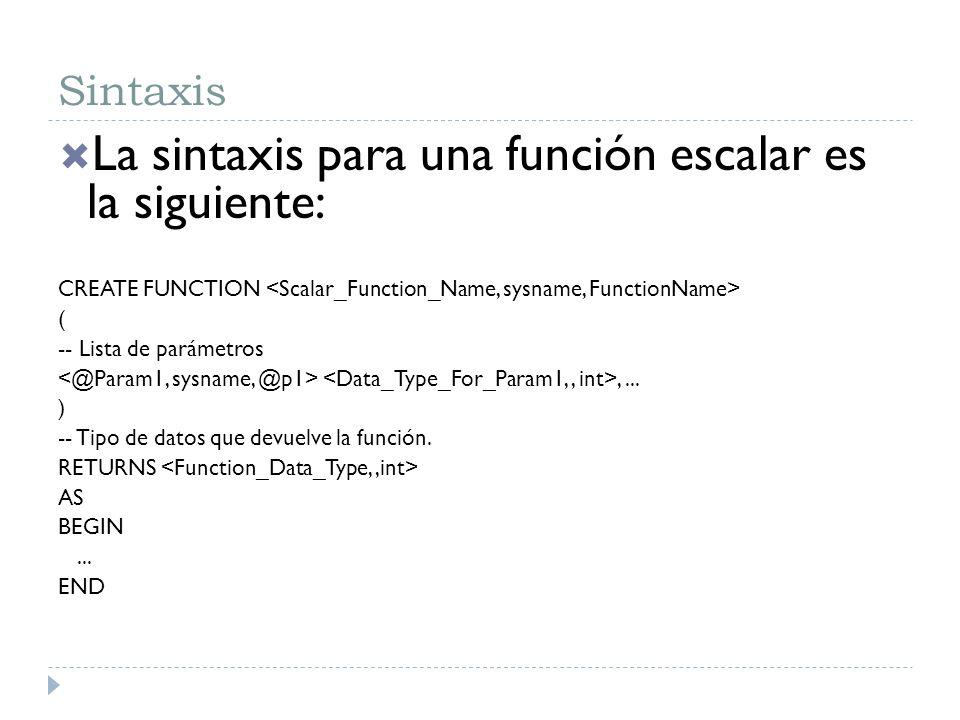 La sintaxis para una función escalar es la siguiente: