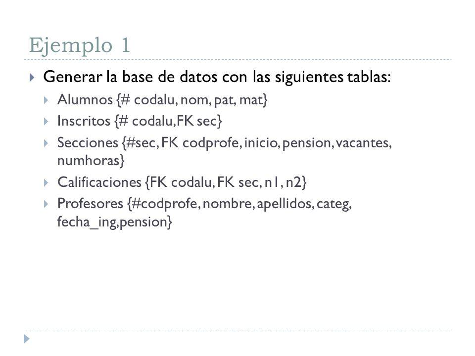 Ejemplo 1 Generar la base de datos con las siguientes tablas: