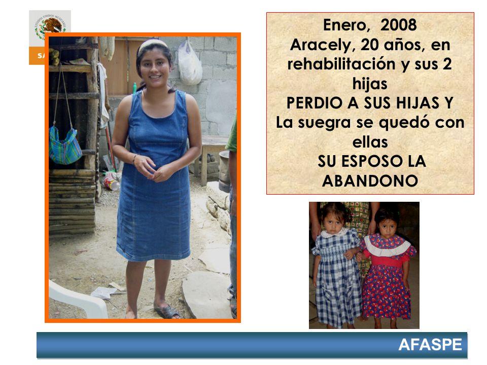 Enero, 2008 Aracely, 20 años, en rehabilitación y sus 2 hijas