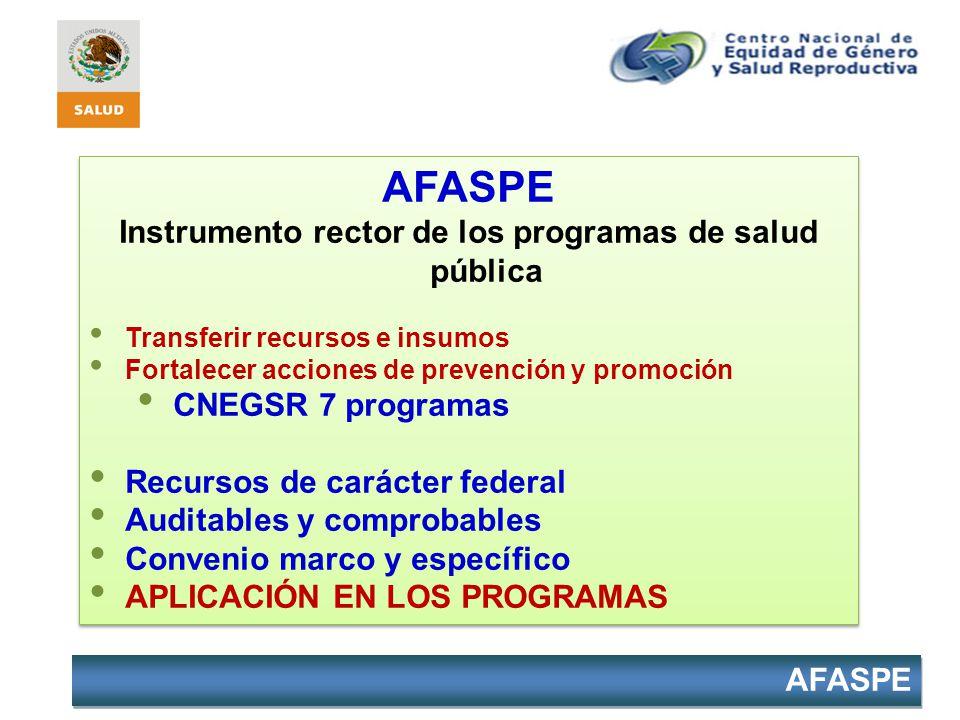 Instrumento rector de los programas de salud pública