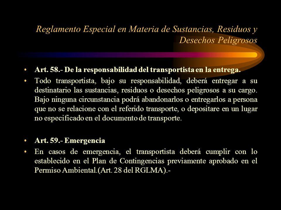 Reglamento Especial en Materia de Sustancias, Residuos y Desechos Peligrosos
