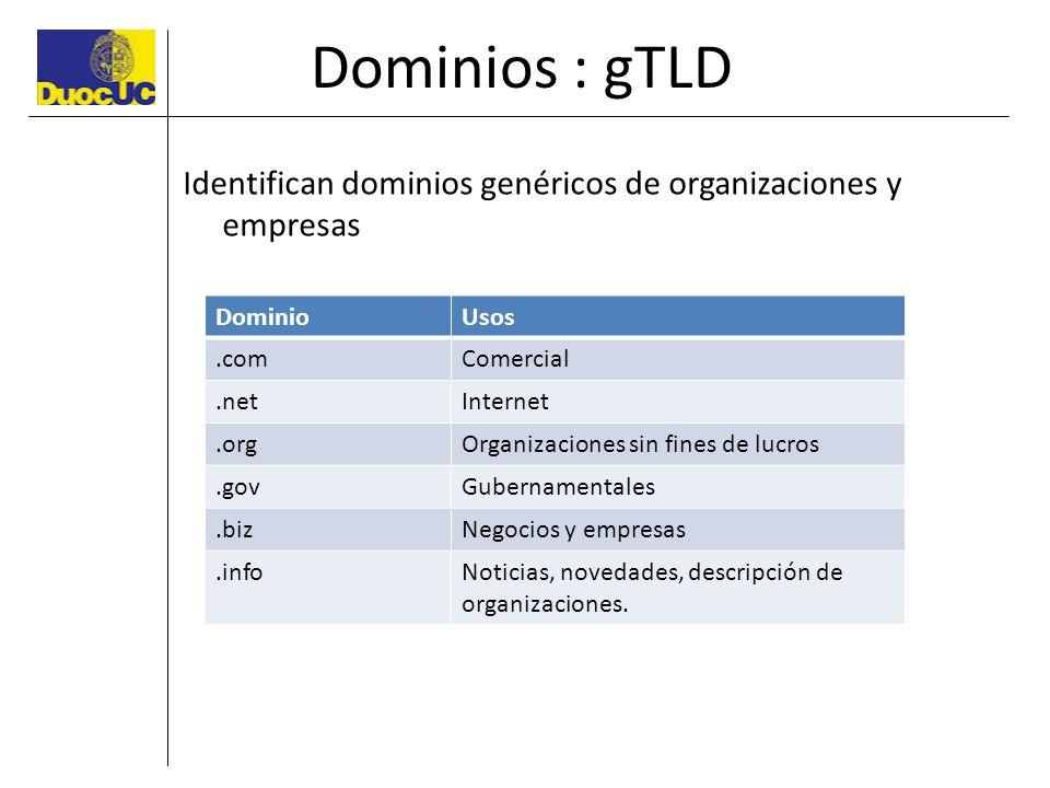 Dominios : gTLD Identifican dominios genéricos de organizaciones y empresas. Dominio. Usos. .com.