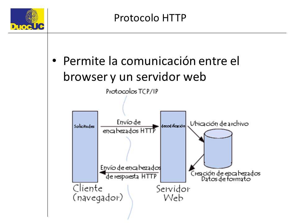 Permite la comunicación entre el browser y un servidor web