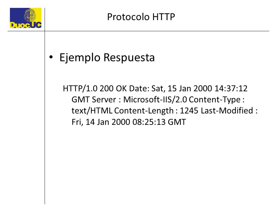 Ejemplo Respuesta Protocolo HTTP