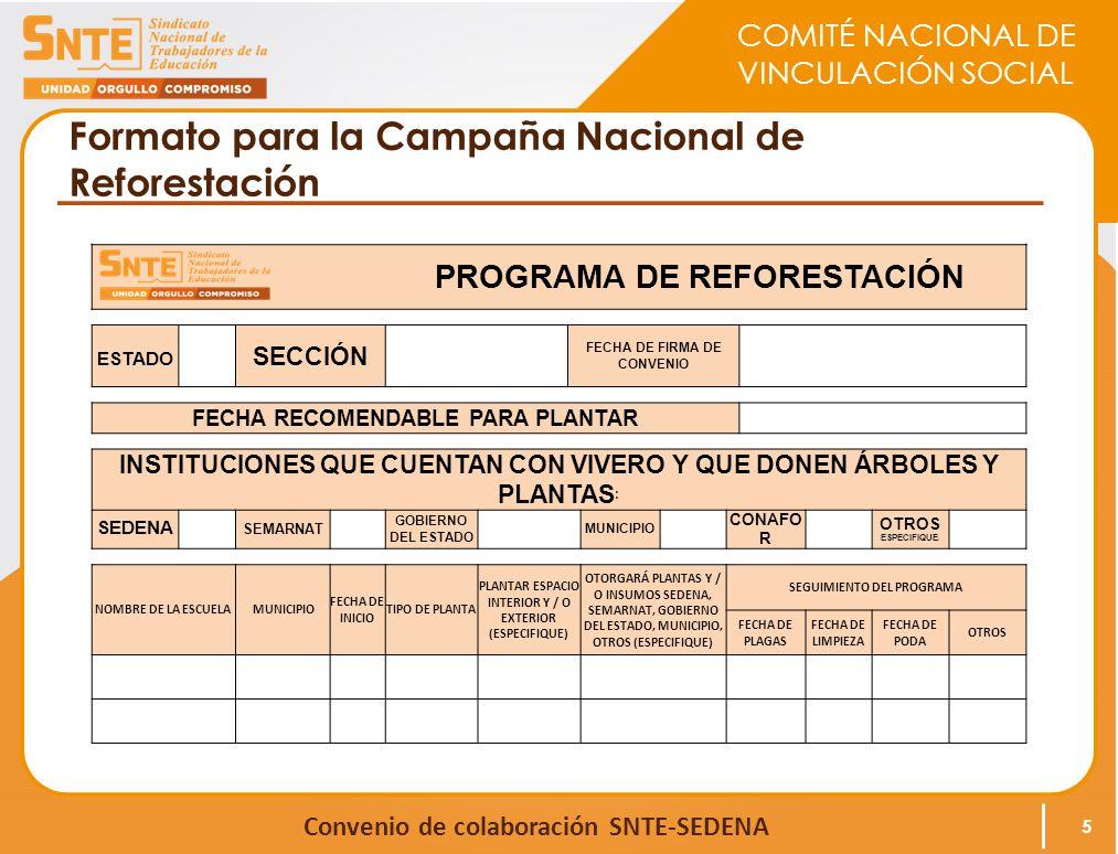 Formato para la Campaña Nacional de Reforestación