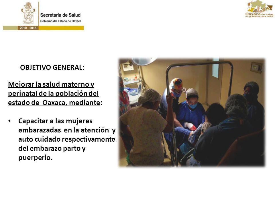 Mejorar la salud materno y perinatal de la población del estado de Oaxaca, mediante: