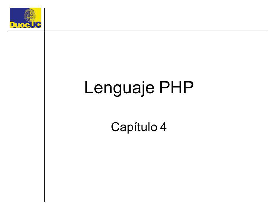 Lenguaje PHP Capítulo 4