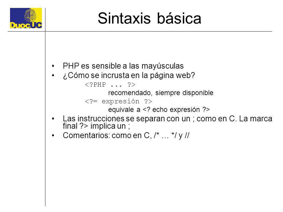Sintaxis básica PHP es sensible a las mayúsculas