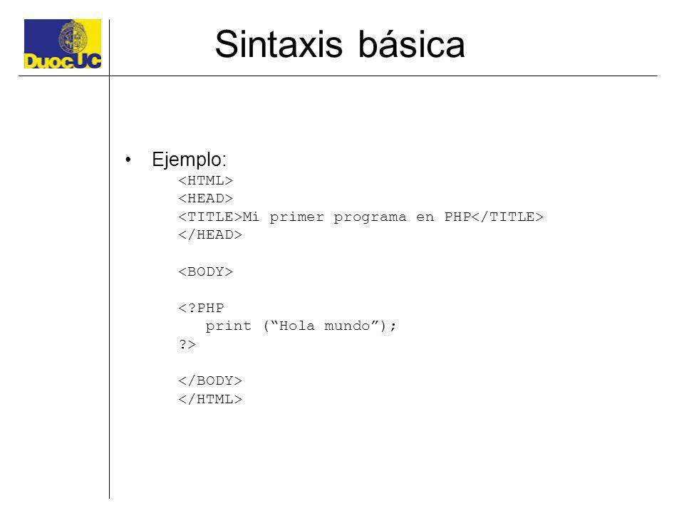 Sintaxis básica Ejemplo: <HTML> <HEAD>