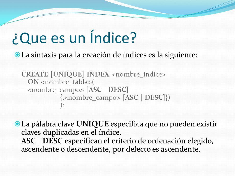 ¿Que es un Índice La sintaxis para la creación de índices es la siguiente: