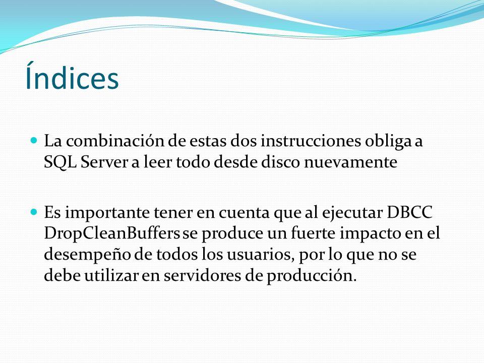 Índices La combinación de estas dos instrucciones obliga a SQL Server a leer todo desde disco nuevamente.