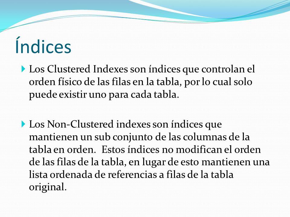 Índices Los Clustered Indexes son índices que controlan el orden físico de las filas en la tabla, por lo cual solo puede existir uno para cada tabla.