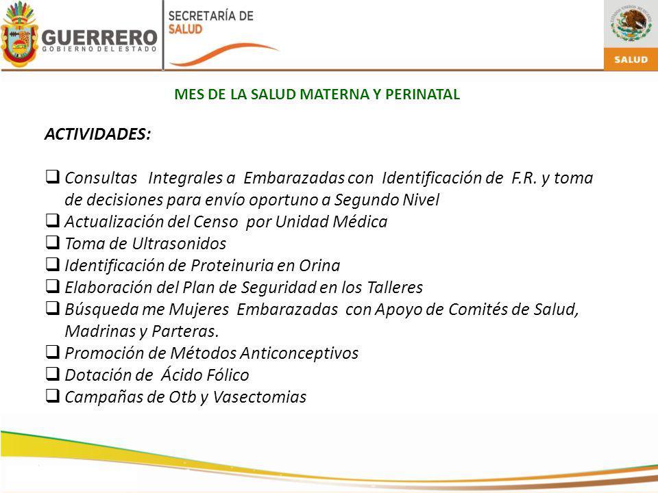 Actualización del Censo por Unidad Médica Toma de Ultrasonidos