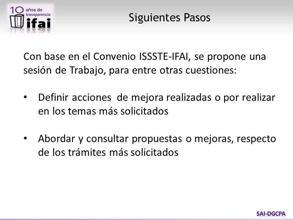 Siguientes Pasos Con base en el Convenio ISSSTE-IFAI, se propone una sesión de Trabajo, para entre otras cuestiones: