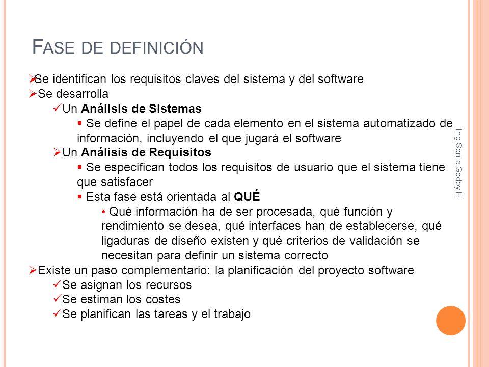 Fase de definición Se identifican los requisitos claves del sistema y del software. Se desarrolla.