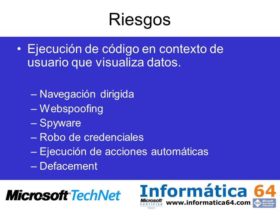 Riesgos Ejecución de código en contexto de usuario que visualiza datos. Navegación dirigida. Webspoofing.