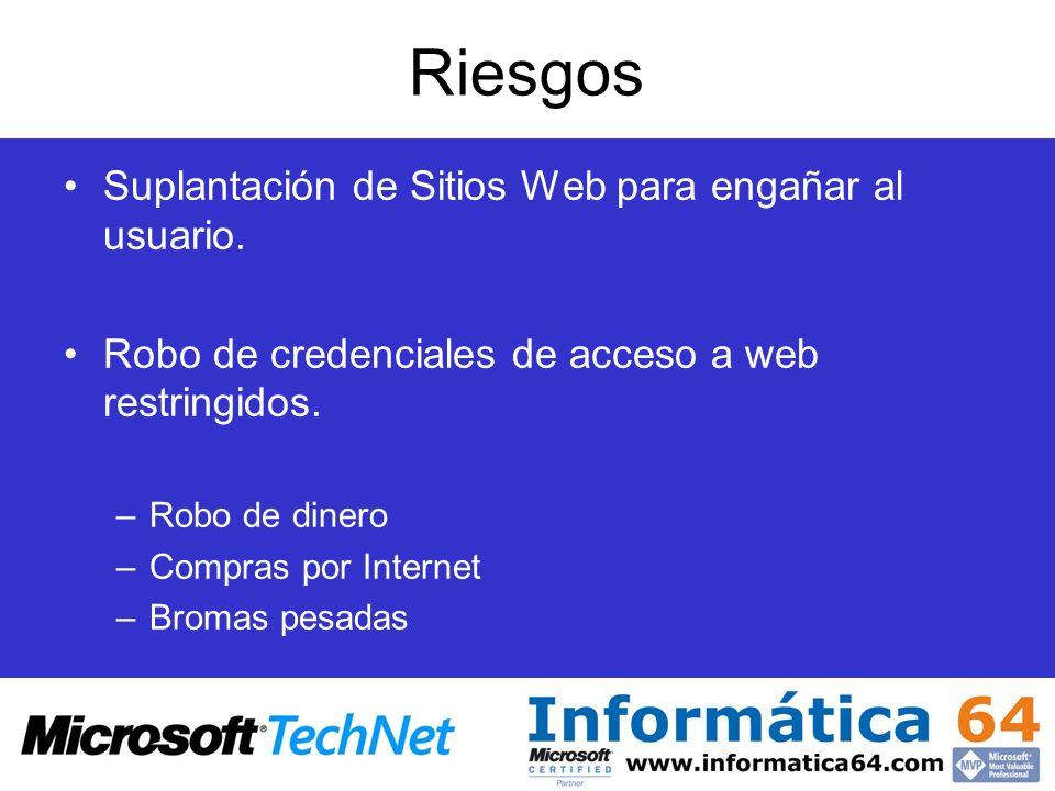 Riesgos Suplantación de Sitios Web para engañar al usuario.