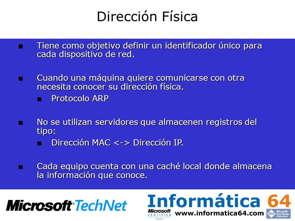 Dirección FísicaTiene como objetivo definir un identificador único para cada dispositivo de red.