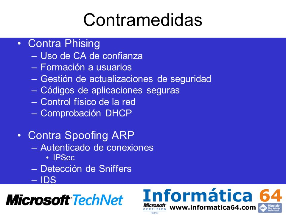 Contramedidas Contra Phising Contra Spoofing ARP