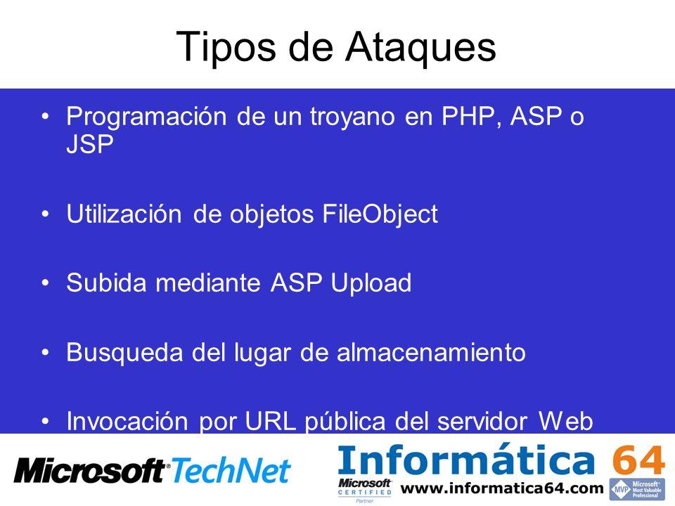 Tipos de Ataques Programación de un troyano en PHP, ASP o JSP