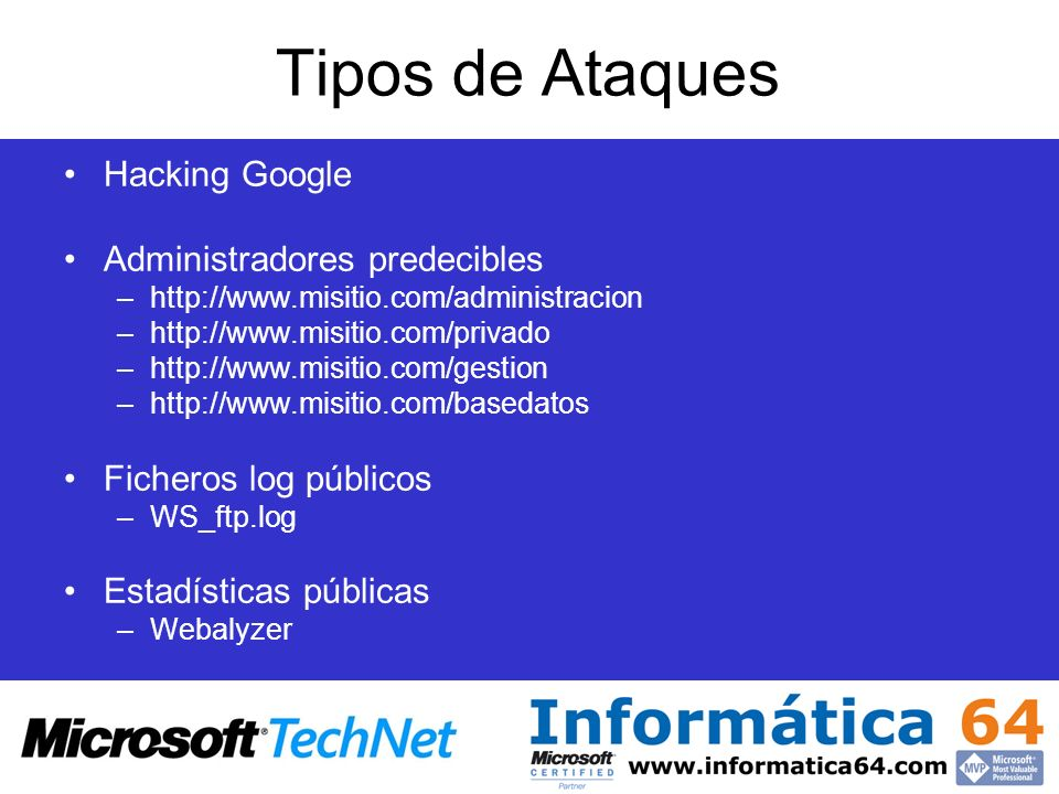 Tipos de Ataques Hacking Google Administradores predecibles