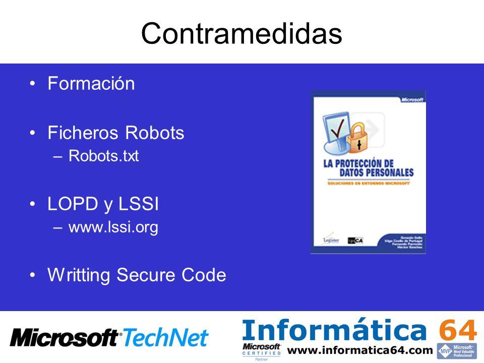 Contramedidas Formación Ficheros Robots LOPD y LSSI